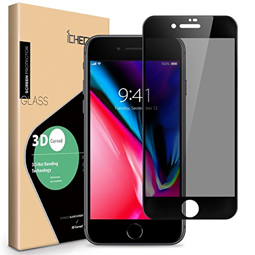 Privacy Screen Protector Compatible for iPhone 8 Plus 7 Plus - ICHECKEY 3D Curved Anti-Spy Anti-Peeping Tempered Glass Screen Cover Shield for Apple iPhone 8 Plus / 7 Plus, 5.5 Inch – Black
