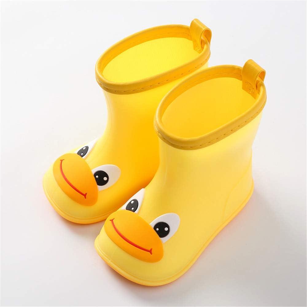 MO MOKER Toddler Little Kid Big Kid Soft Rubber Rain Boots Anti-Slip Rain Shoes,Yellow,14