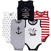 Hudson Baby 5 Pack Sleeveless Cotton Bodysuits, Pirate Ship, 9-12 Months