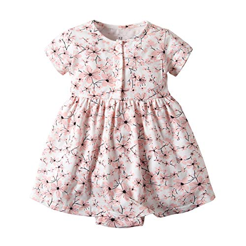 (Newborn Baby Girls Infant Short Sleeve Rompers Jumsuit Bodysuit Outfits Clothes (Plum Blossom, 6 Months) )