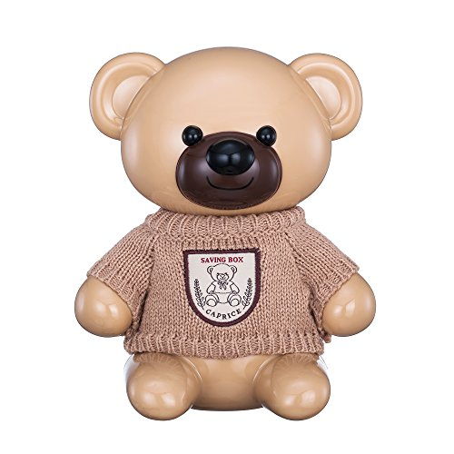 Bank Bear Piggy - Classic Bear Piggy Bank - Cute Cartoon Save Box for Kids Money Boxes Saving Pot with Knit Clothes Decor Coin Toy Banks(Beige)
