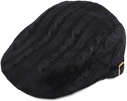 ハンチング帽 ケーブル編み無地ニット切り替え