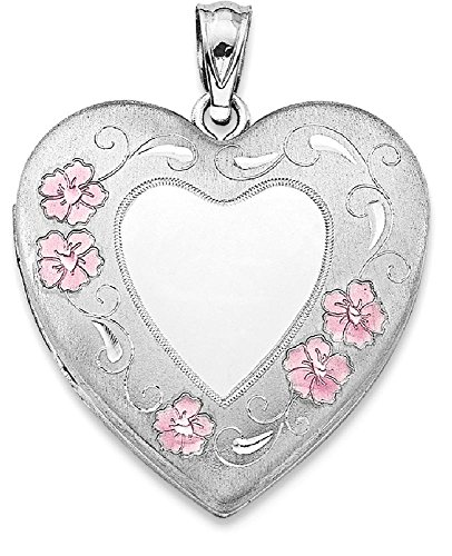 ICE CARATS 925 Sterling Silver 24mm Enameled Floral Border Heart Photo Pendant Charm Locket Chain Necklace That Holds Pictures Fine Jewelry Gift Set For Women (Enameled Locket)