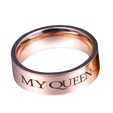 Homeofyingfashion Lettres Charm Couple Ring My King My Queen Alliance  Cadeau Bijoux \u2013 US 7 My