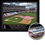 Los Angeles Angels Personalized MLB Card Stunt Baseball Stadium with American Flag Framed Print 14x18 Inches