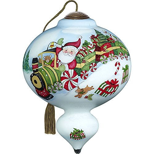 Express Ornament (Precious Moments, Ne'Qwa Art 7171133 Hand Painted Blown Glass Standard Marquis Shaped Santa's Peppermint Express Train Ride Ornament, 5.5-inches)