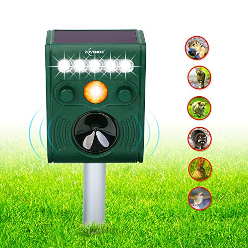 ZOVENCHI Solar Ultrasonic Animal Repeller, Waterproof Solar Animal Repeller Rodent and Pest Repeller Cats, Dogs, Mice, Squirrel Repellent, Motion Activated with Flashing LED Light ... (Best Ultrasonic Dog Repellent)