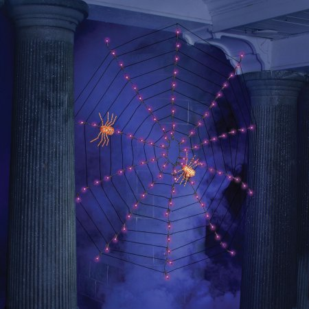 Indoor-Outdoor Lighted Spider Web Halloween Lights - 4 (Purple) - Halloween Spider Web Lights
