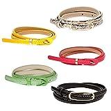BMC Womens 5pc Mix Color Faux Leather Fashion Statement Skinny Belt Bundles