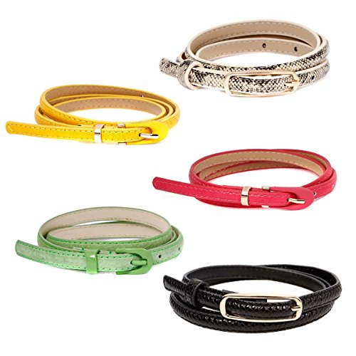 BMC Womens 5pc Mix Color Faux Leather Fashion Statement Skinny Belt Bundles