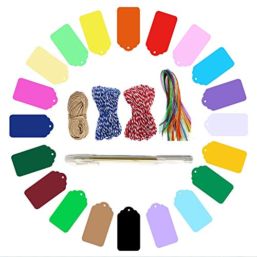 ArtJ4U Gift Tags, 200 Pcs 20 Colors Party Favor Tags with 3 Styles of Rope and Organza Ribbons for Hanging Ornament, Hang Paper Label, Scrapbooking, Gift Wrapping, Wedding Decoration Gifts ()