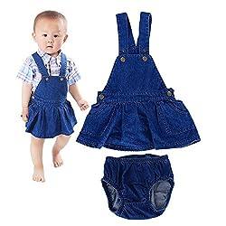 Bebone Baby Girls Denim Suspender Skirt+Underwear (Blue, 6-12M)