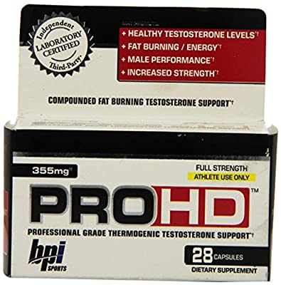 BPI Sports Pro-HD Professional Grade Thermogenic Testosterone Support Capsules, 28-Count