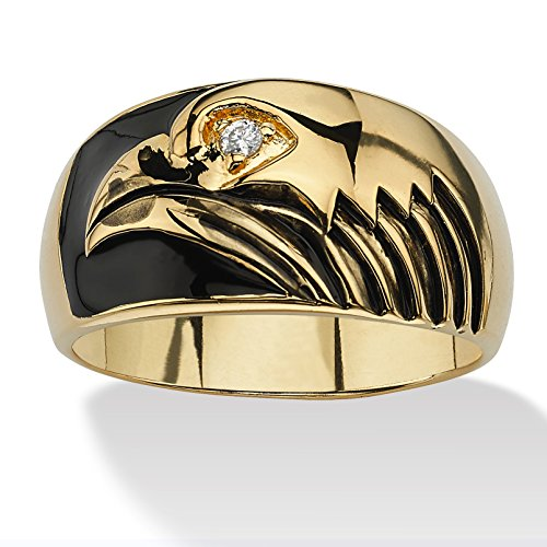 Men's White Cubic Zirconia Accent 14k Yellow Gold-Plated and Black Enamel Eagle Ring