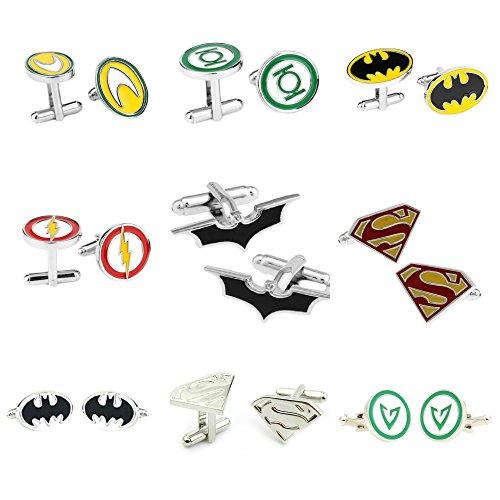 J&C Superhero DC Comics Assorted Logos (9 Sets) Cufflinks