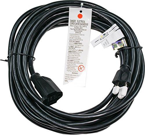25 Ft Extension Cord - Black | 16 AWG | 1625 Watt | 13 Amp | 120 Volt - Electronics, Appliances, Power Tools - 3 prong, 16 gauge, w/ ground, 110-125V
