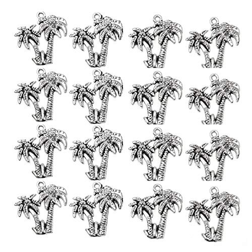 Pendant Charm Tree Palm - Monrocco 50pcs Alloy Palm Tree Charms Coconut Tree Charms Pendants for DIY Necklace Bracelet Jewelry Making (Ancient Silver)
