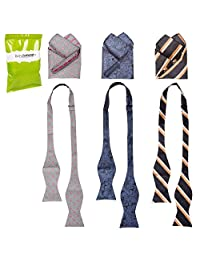 BMC Mens 6pc Mixed Design Self Tie Bowtie Pocket Square Suit Accessories - Set 3