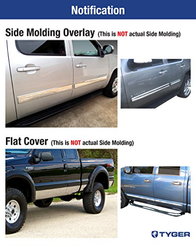 Made in USA Works with 2009-2013 Chevy Silverado Regular Cab Rocker Panel Chrome Stainless Steel Body Side Moulding Molding Trim Cover Top 1 Wide 2PC Overlay