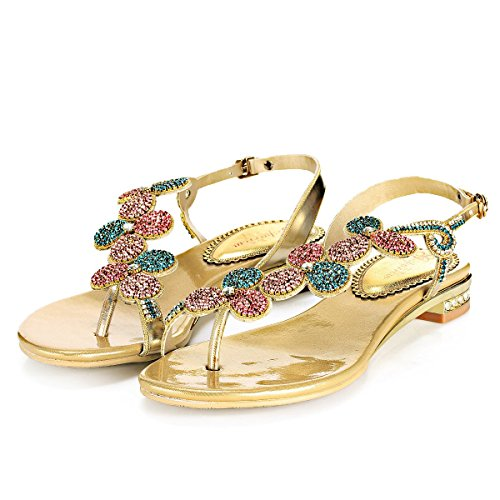 Geminigirl Women's Gold Rhinestone Bridesmaid Prom Dress Shoes Slingback Summer Beach Flats Sandals 6 M US