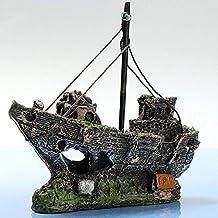 Resin Material Beautiful Aquarium Ornament Wreck Sailing Boat Sunk Ship Destroyer Fish Tank Aquarium Decoration