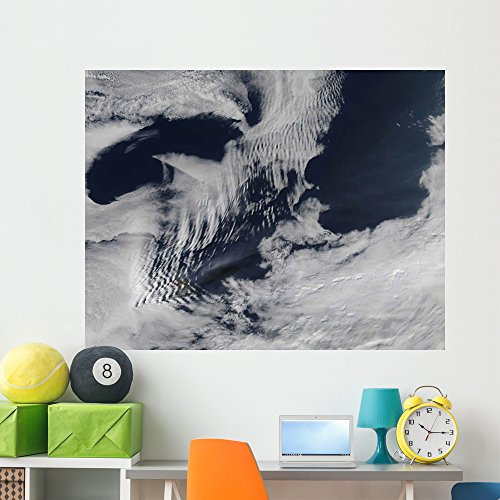 Shaped Wave Wave Ship (Ship-wave-shaped Clouds South Indian Wall Mural by Wallmonkeys Peel and Stick Outer Space Graphic (60 in W x 47 in H) WM157197)