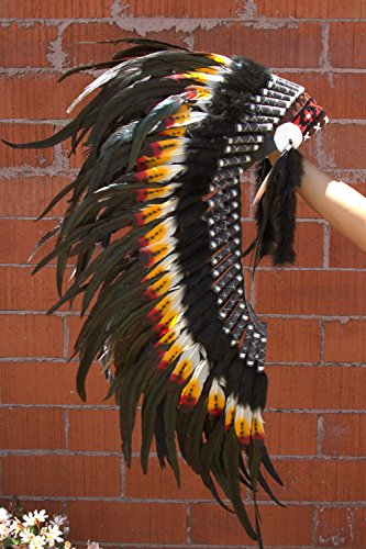 Tribal Costume MH005 Medium Indian Headdress 36 Inches Long, Dark (Authentic Indian Costumes)