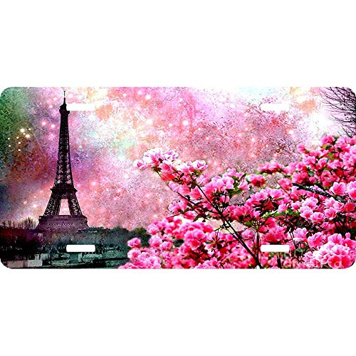 (Pink Cherry Flowers Eiffel Tower Personalized Aluminum License Plate Frame Cover Auto Truck Car Front Tag Metal Sign 12 x 6 Inch)