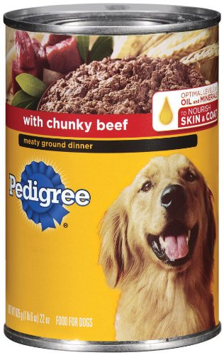 PEDIGREE Meaty Ground Dinner With Chunky Beef Canned Dog Food 22 Ounces (Pack of 12)