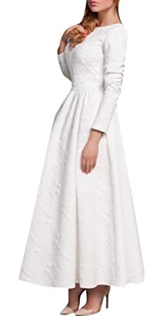 Lingswallow Womens Elegant White Long Sleeve Flared Wedding Party Prom Dress at Amazon Womens Clothing store: