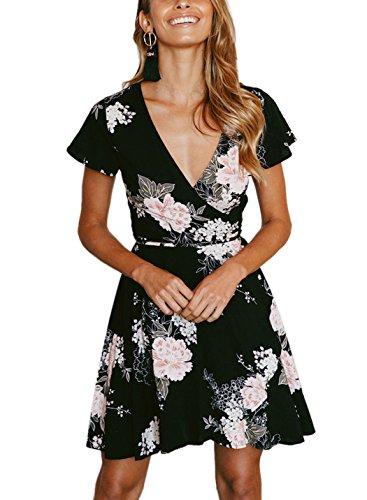 FFLMYUHULIU Women's Deep V-Neck Short Sleeve Flare Asymmetric Print Float Short Mini Dress (heifen, XL)
