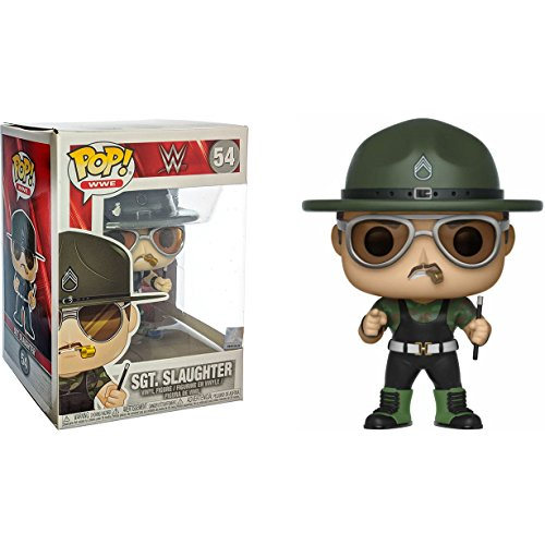 Funko Sgt. Slaughter: x POP! WWE Vinyl Figure + 1 Official WWE Trading Card Bundle [#054 / 30988] by Funko