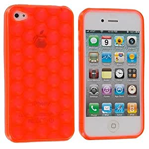 Orange Hexagon TPU Rubber Skin Case Cover for Apple iPhone 4 4G 4S