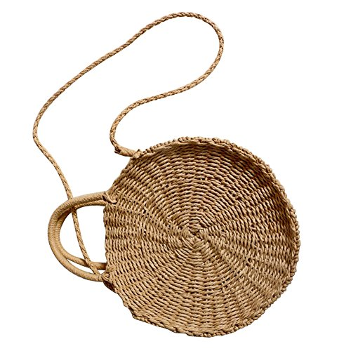 Rattan Retro Beach Summer Crossbody Round Shoulder Handbag Bag Tan Straw Handmade Woven Bag dzRx5a5w