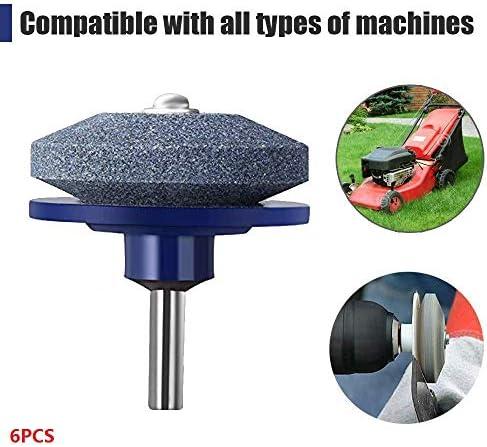6pcsユニバーサル芝刈り機ブレード砥石、ロータリードリルガーデン研削工具に使用