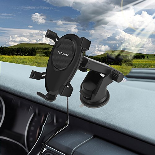 DINTO Wireless Car Charger Gravity Linkage Car Mount Phone Holder Wireless Charger Fast Charging for Galaxy S9, S8, S7/S7 Edge, Note 8 5,Standard Charge for iPhone X, 8/8 Plus & Qi Enabled Devices by DINTO (Image #8)
