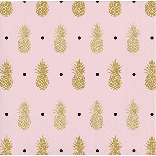 Golden Pineapple Beverage Napkins, 48 Count by Creative Converting