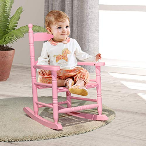 Costzon Kids Rocking Chair, Wooden Classic Porch Rocker, Double Slat Back Rocking Chair (Pink)