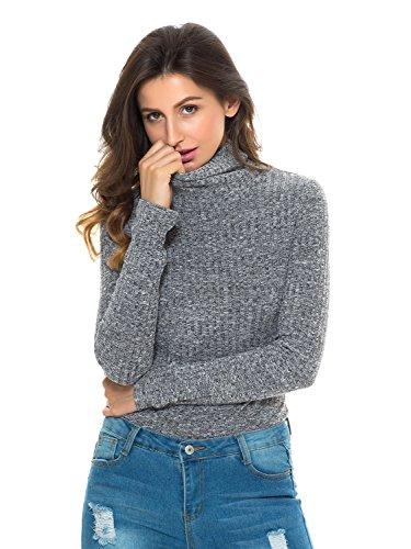 Persun Womens Turtleneck Knitted Bodysuit