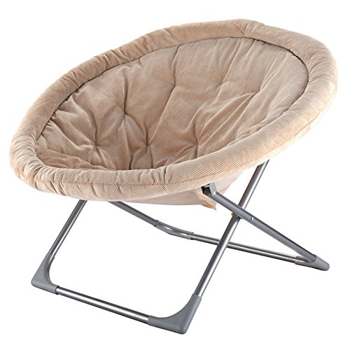 Oversized Large Folding Moon Chair Corduroy Fabric Round Seat Living Room Seat Beige #664 (Wicker Seat Uk Cushions)