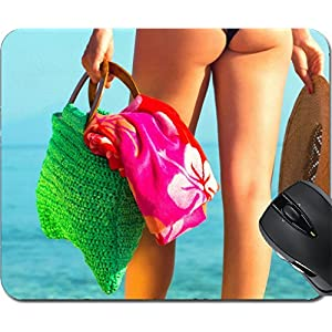 MSD Mousepad Mouse Pads/Mat design 30440663 Close up of a woman by the sea holding beach amenities