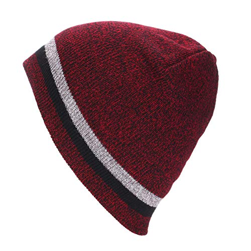 WUAI Knitted Hats for Adults Mens Womens Winter Knit Warm Hat Ski Baggy Slouchy Beanie Skull Cap(Wine,Free Size)
