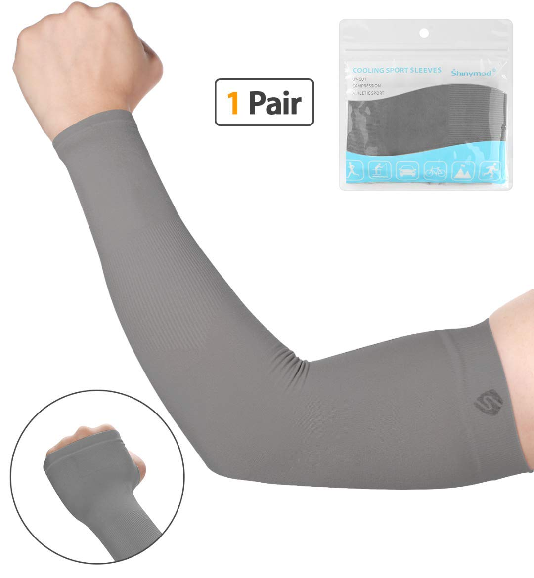 SHINYMOD UV Protection Cooling or Warmer Arm Sleeves for Men Women Kids Sunblock Protective Gloves Running Golf Cycling Driving 1 Pair/ 3 Pairs/ 5 Pairs Long Tattoo Cover Arm Warmer-Dark Grey