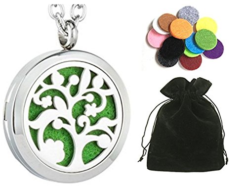 Essential Oil Diffuser Necklace Tree of Life - Aromatherapy Jewelry - Hypoallergenic 316L Stainless Steel Locket Pendant with 12 Assorted Colorful Pads, 21'' Adjustable Chain