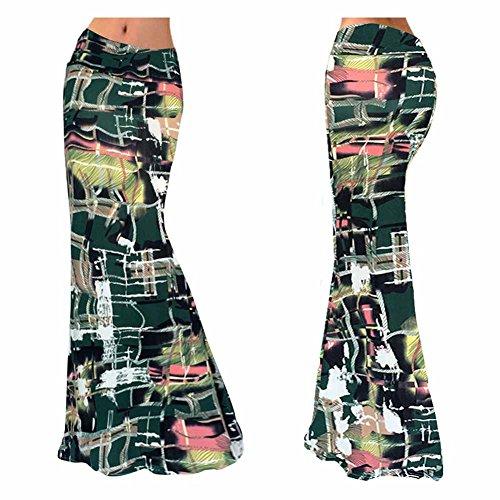 Print High Waisted Beach A-line Skirt Rollover Long Dress (S, (Soft Surroundings Stretch Leggings)