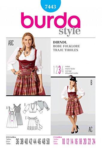 Amazon.com: Burda Ladies Sewing Pattern 7443 Dirndl Dress with Apron ...