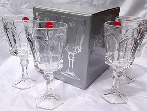 Fostoria Goblet - Vintage Fostoria Glass Clear Virginia Heavy Lead Crystal Water Goblet Glass Discontinued 1986 (Set of 4 in Gift Box)