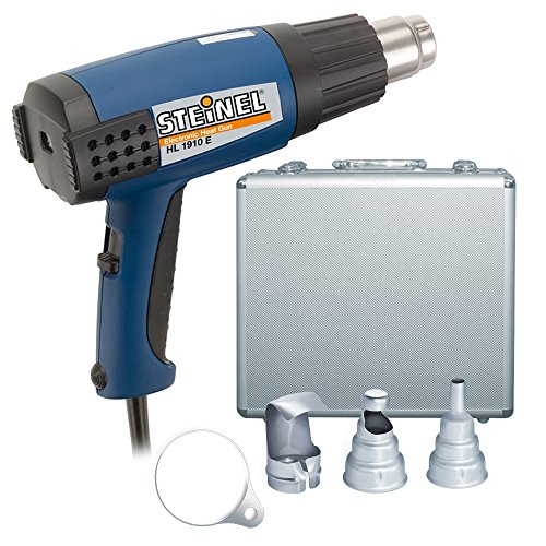 Steinel HL 1910 E Classic Heat Gun Kit - a powerful heating tool with 1500 W and variable temperature between 120F - 1100F, airflow control, Duratherm heating element, Double insulation, including reducer nozzle, reflector nozzle and overhead hanger, 34838