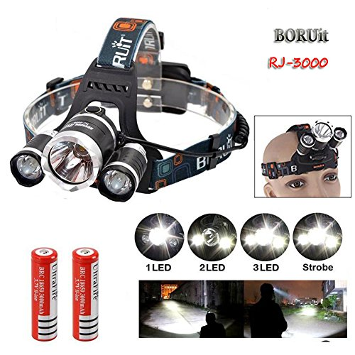 Yeholding 4 Modes 3 LED Beams Headlamp Headlight , Hands-free Flashlight , Waterproof Head Light Lamp Torch , for Hiking...