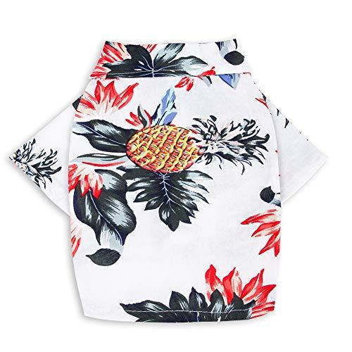 CheeseandU Pet Hawaiian Shirt, NewStyle Summer Beach Vest Short Sleeve Pet Clothes Dog Top Floral Pineapple T-Shirt Hawaiian Tops Dog Jacket Outfit Beach Apparel for Small Dogs Breeds Cats, White ()